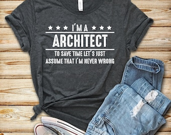 6fe938f5 Architect I'm Never Wrong / Shirt / Tank Top / Hoodie / Architect Shirt /  Architect Gift / Architecture Student / Architecture School