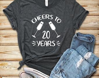 bbb0e860 Cheer to 20 years / Shirt / Tank Top / Hoodie / 20th Wedding Anniversary  Gift / 20 Years of Marriage / 20 Year Wedding Anniversary