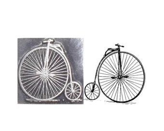 penny farthing inspired printing stamp
