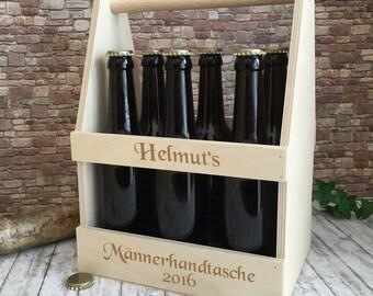 Bierträger aus Holz-die Männerhandtasche mit Gravur - Personalisiertes Geburtstagsgeschenk