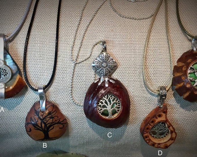Tree of Life - Avocado pendant necklaces.  One of kind! Made in USA