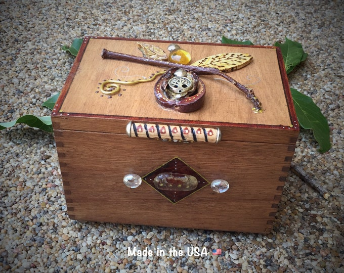 Jewelry box - Trinket Box - made with real avocado- one of a kind
