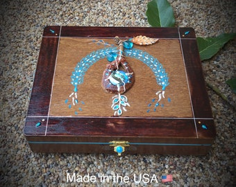 Jewelry Box - Trinket Box - made with real avocado- One of a kind.