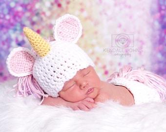 52848eafd Unicorn baby hat | Etsy
