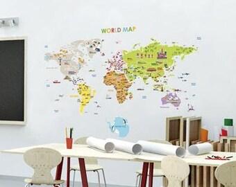 Kids World Map Etsy - Explorer kids world map mural