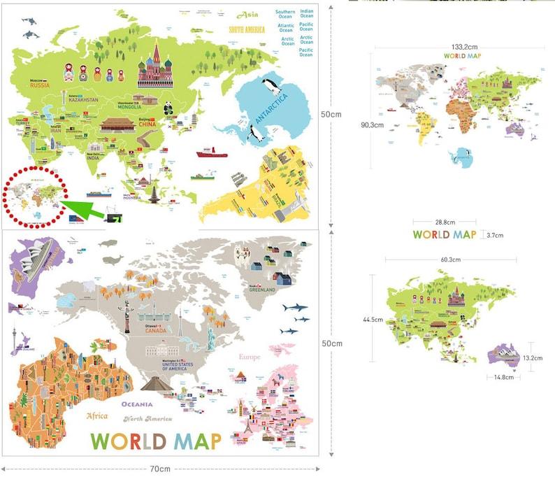 Kids World Map Decals World Map Decals Stickers World Map Baby Child