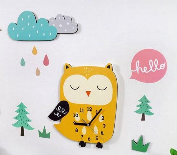 owl clock/diy kit owl decal wall clock/baby wall clock/kids wall ...