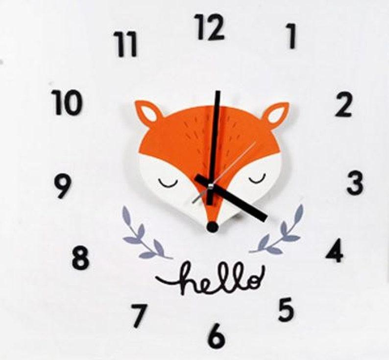 fox clock/diy kit fox decal wall clock/baby wall clock/kids | etsy