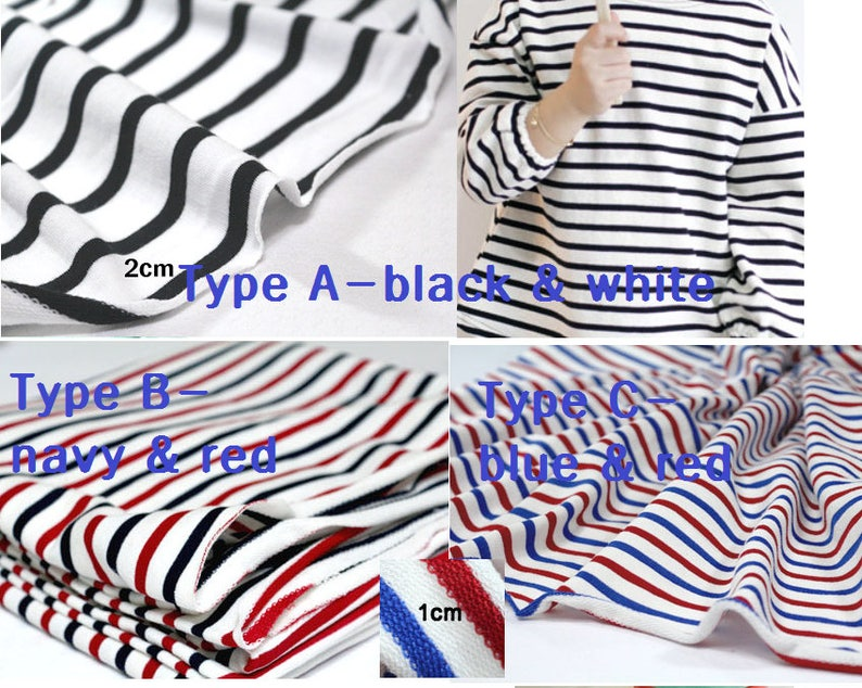 a0d72980f20 Stripe french knit fabric/stripe boy knit fabric/marine baby   Etsy