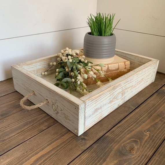 Farmhouse Style Coffee Table Tray Wood Rustic Serving Etsy