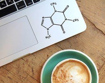 Decal Caffeine molecule,Laptop Decal,Laptop Sticker,Car Sticker,Car Decal,Phone decal,Phone sticker,Window Decal,Window Sticker