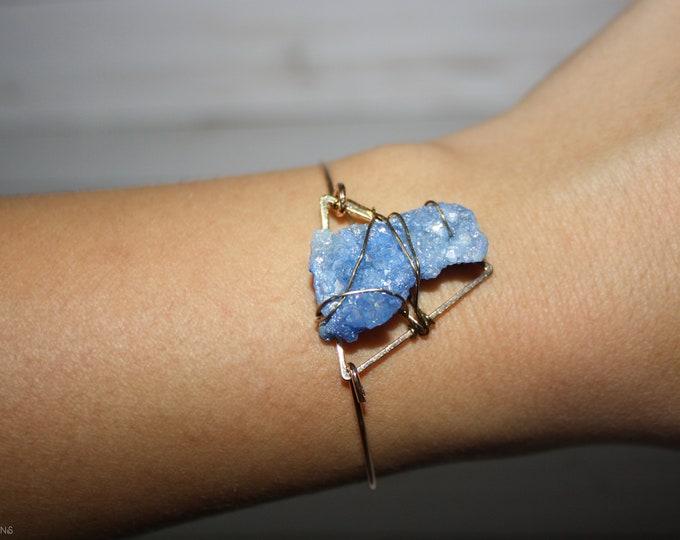 Blue Lace Agate Cuff Bracelet