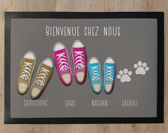 Family custom door mat with shoes