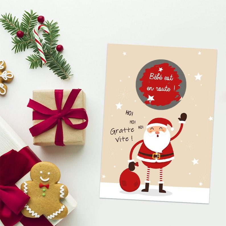 Mini carte à gratter Noël pour une annonce de grossesse | Créatrice : Lachouettemauve | A découvrir sur le blog : keepcoolnewmom.com