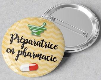 Large-format metal badge Pharmacy Preparer - 45 mm