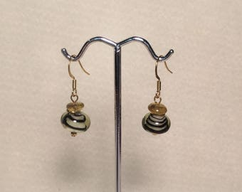 Black Swirl And Gold Glass Dangle Earrings with Gold Plated Ear Wires