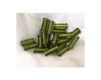 Green Lamp Work Tube Beads 20-22 mm in length, 9mm diameter