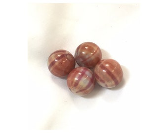 Plaid Brown and Mauve Acrylic Beads 14mm