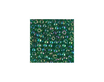 6/0 Transparent Green AB Seed Beads 5 gm