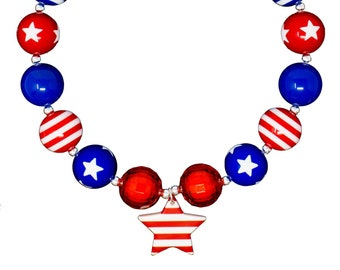 4th of July chunky necklace. Free shipping USA