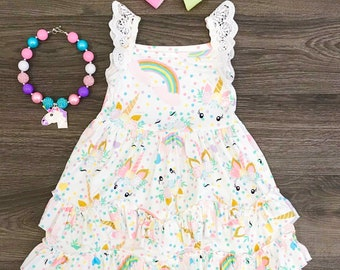 Ruffle unicorn dress . Free shipping USA