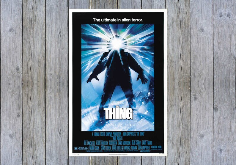 1982 The Thing with Kurt Russell vintage science fiction movie poster print