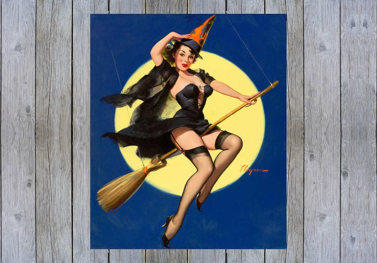 riding high 1958 gil elvgren vintage pin up art poster print | etsy