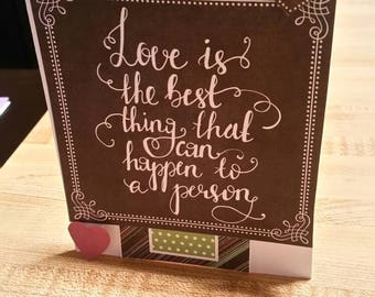 Love is the Best thing that can happen to a person 3D Card and White Blank Envelope