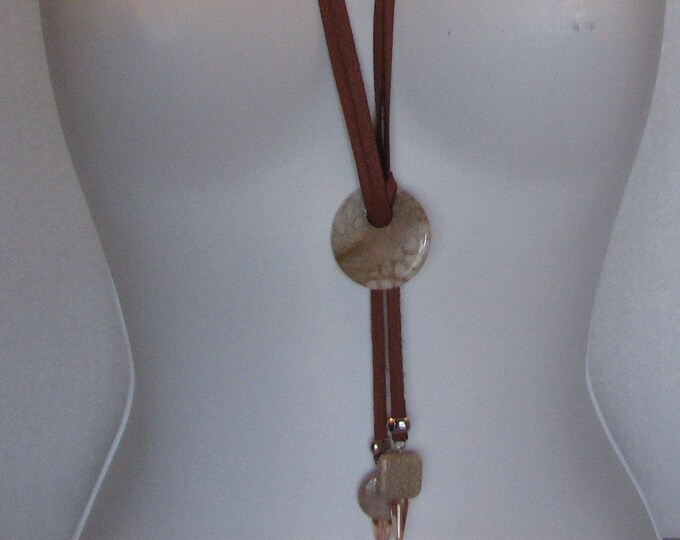 Fossilized Coral (Flower Stone) and Deerskin Leather Lariat Necklace