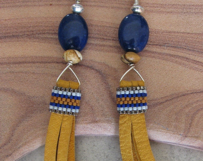 Blue Quartz, Jasper, Sterling Silver and Leather Tassel Earrings