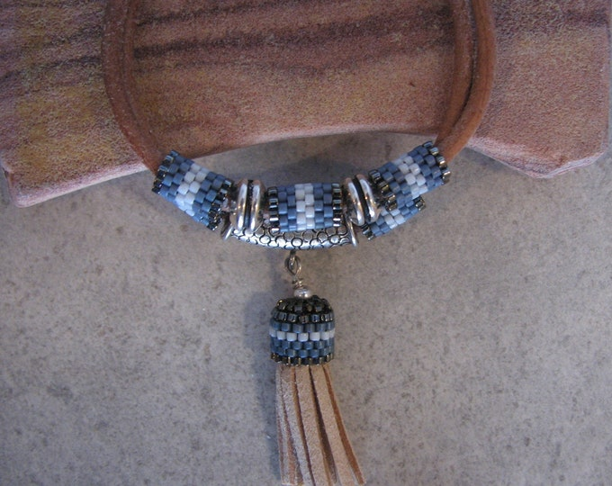 Leather Tassel Sterling Silver Beaded Tubes Bracelet