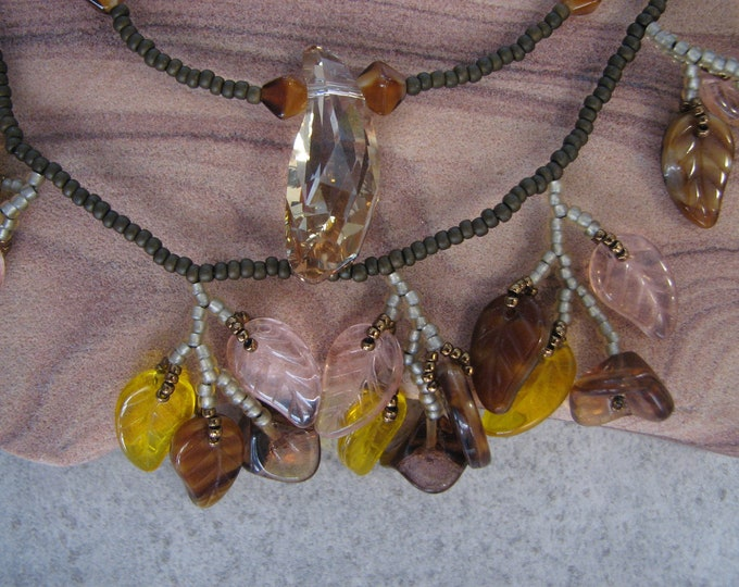 Gold Luster and Brown Flower Leaf Czech Glass Cluster Double Strand Swarovski Pendant Necklace