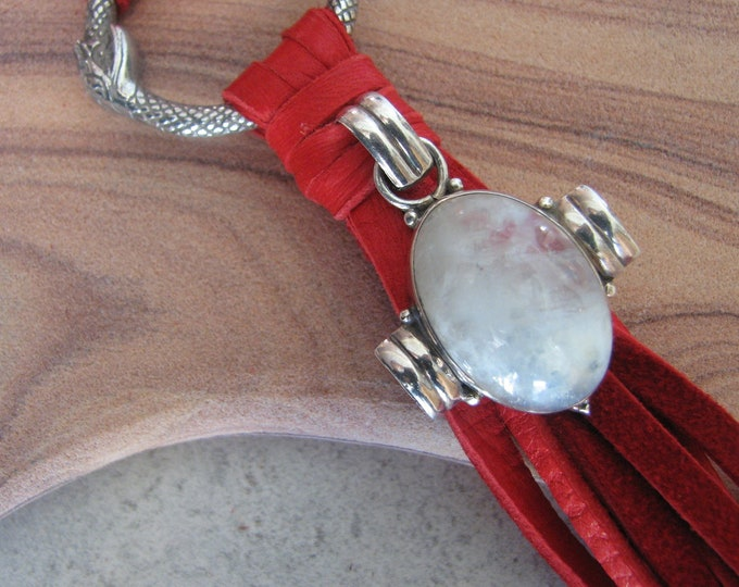 Moonstone Pendant, Snake Infinity Ring and Red Leather Tassel Necklace