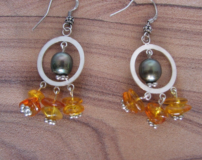 Amber and Freshwater Pearl Sterling Silver Earrings, Amber and Sterling Silver Earrings, Chandelier Earrings