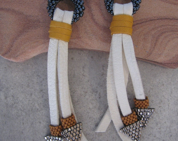 Leather White Tassel, Peyote Stitch Arrowhead Earrings