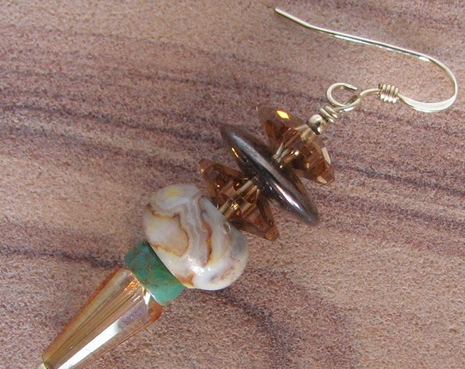 Crazy Lace Agate Spike Earring,  Gemstone and Swarovski Marguerite Spike Bead Earring, Gold Filled Gemstone Earring