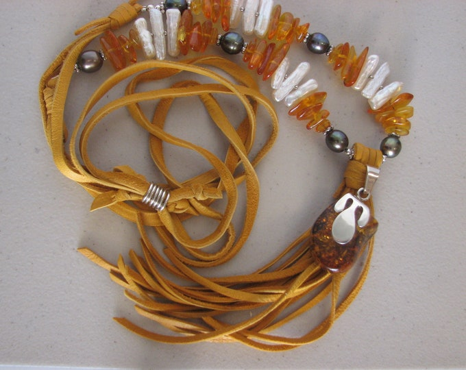 Amber Sterling Silver Pendant, Amber Chips Freshwater Stick and Round Pearls, Leather Tassel Necklace