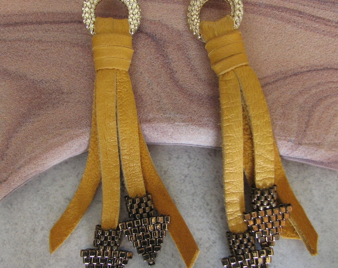 Leather Gold Tassel, Peyote Stitch Arrowhead Earrings