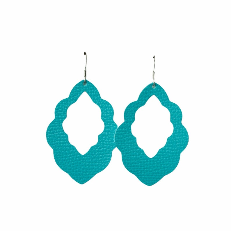 Turquoise Cut-Out Leather Earrings