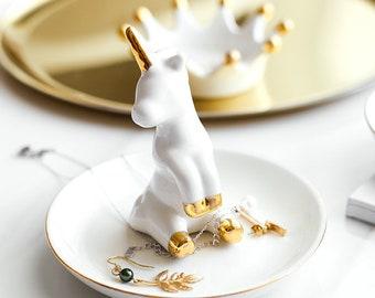 NEW NEXT Ceramic Rose Gold /& White Unicorn Jewellery Jewelry Ring Holder GIFT