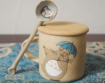 Totoro Anime Cute MugTotoro Coffee + Spoon & Wood Cover