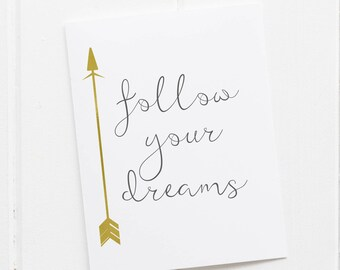 Follow Your Dreams Print, Nursery Decor Girl Gold, Motivational Wall Quotes, Arrow Wall Decor Bedroom Girl, Teen Room Art, Arrow Decoration