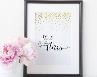 Shoot For The Stars,  Motivational Quotes For Desk Decor, Postive Inspiration, Office Decor For Women, Typography Print, Nursery Wall Art