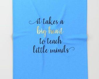 Teacher Gifts, Fleece Throw Blanket, Teacher Apprecation Week, Gray Home Decor, It Takes A Big Heart to Teach Little Minds, Soft Blanket