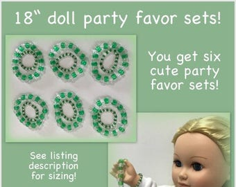 My doll & me matching bracelets READY TO SHIP 18 inch doll jewelry set of 6 green bead girl birthday party favor gift handmade stretch