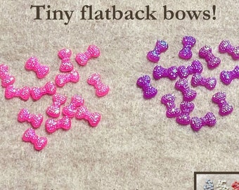 20 Black Tiny Bow Mix Embellishments 13mm Scrapbooking Card Craft
