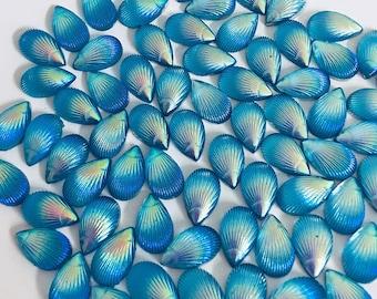Raindrop teardrop sea shell flat back sea shell look, 10, 20 or 30 pieces decoden AB scale mermaid scrapbooking acrylic gem N35