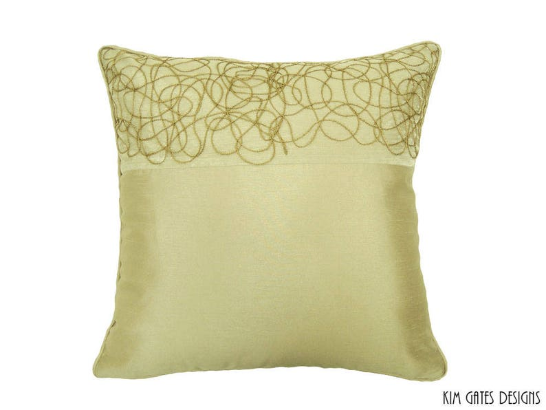 one OOAK 20x20 Embroidered Light Gold Swirl Pillow Cover // image 0