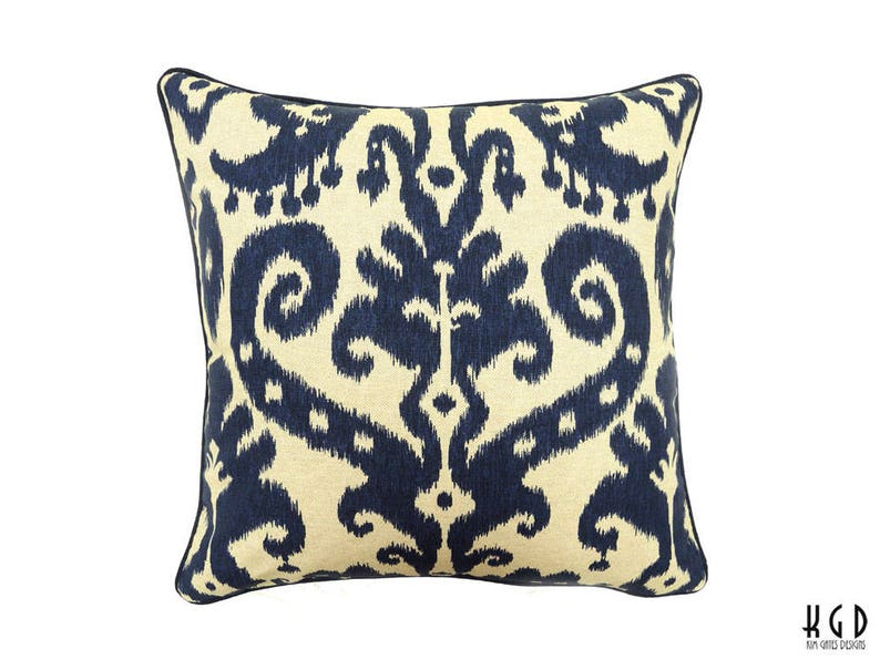 One Navy and Beige Ikat 22-inch Pillow cover / batik pillow / image 0