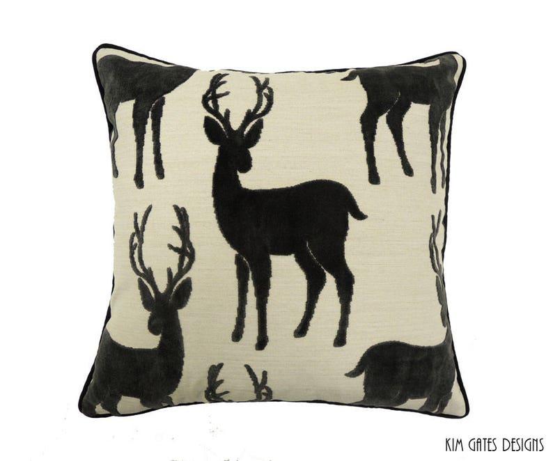 One 20-inch Velvet Buck Deer Pillow Cover // hunting decor // image 0